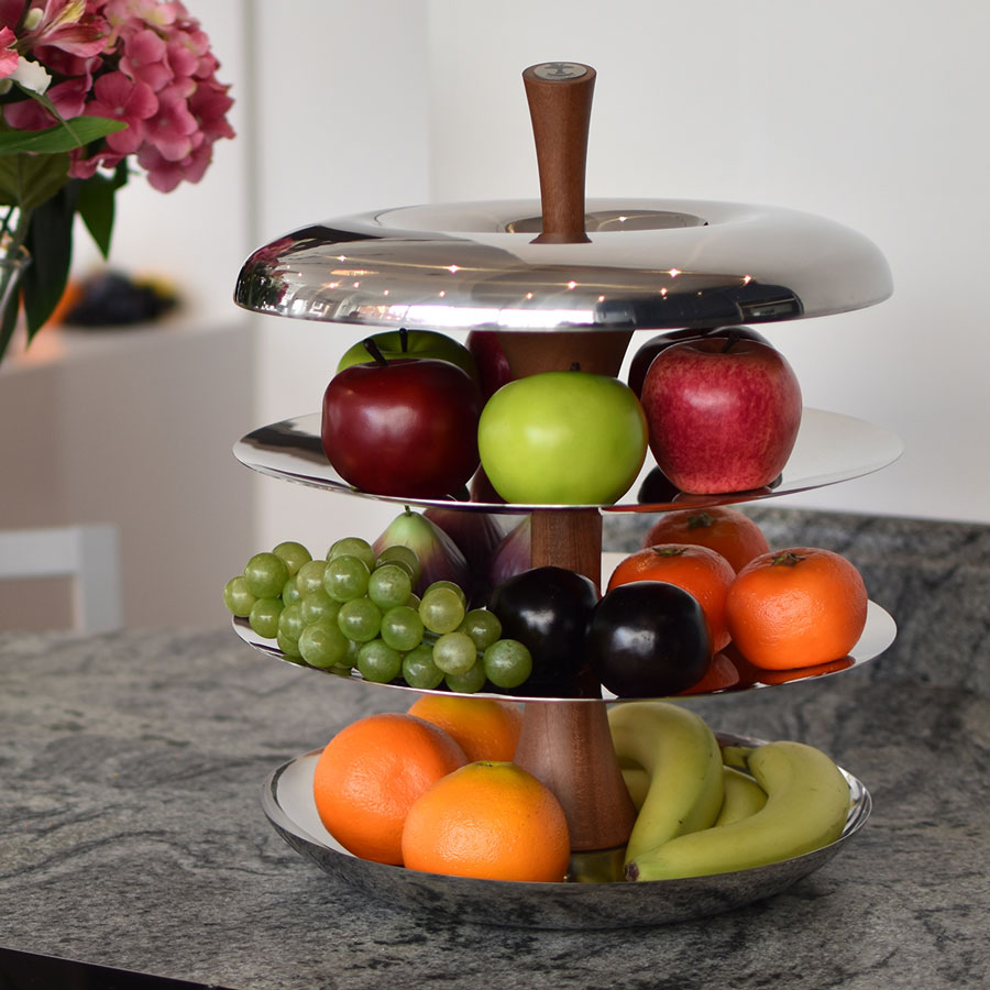Tiered fruit bowl ceramic and stainless steel tier