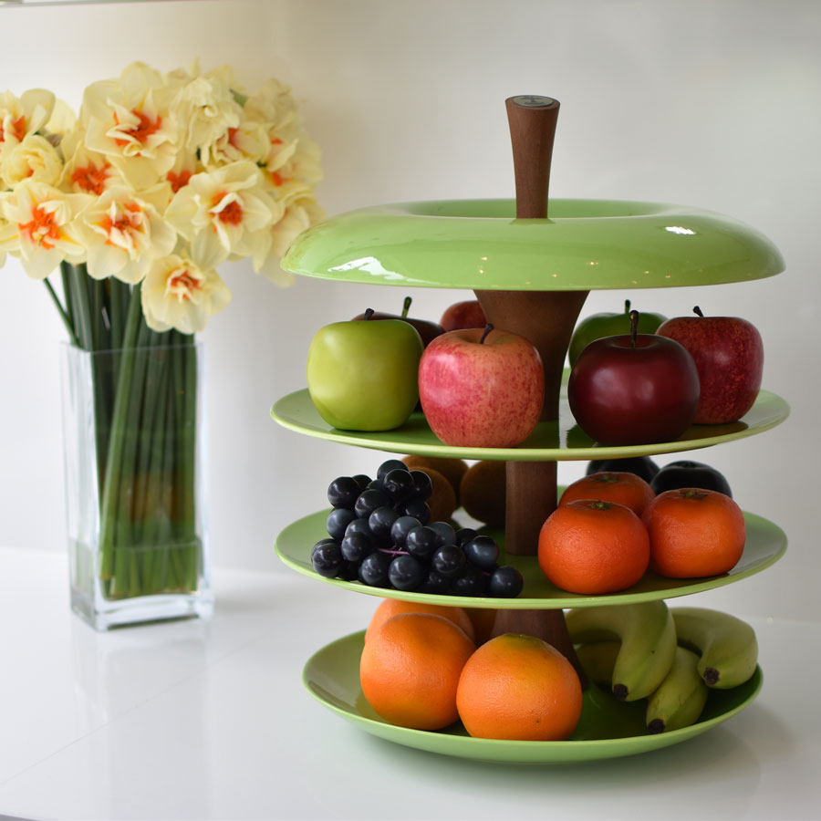 Tiered Fruit Bowl Ceramic And Stainless Steel Fruit Tier