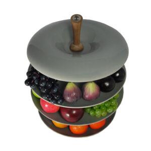 Stylish-Apple-Tier-Ceramic-Fruit-Bowl-Porpoise-Grey